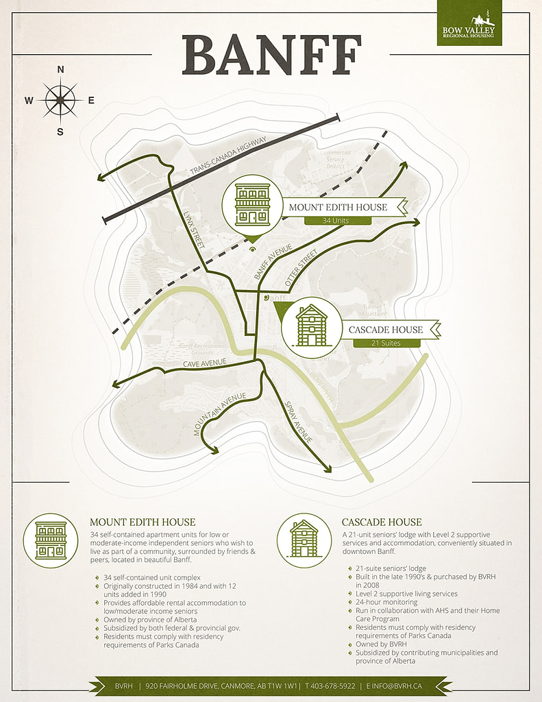 Bow Valley Regional Housing Branded Map Graphic design